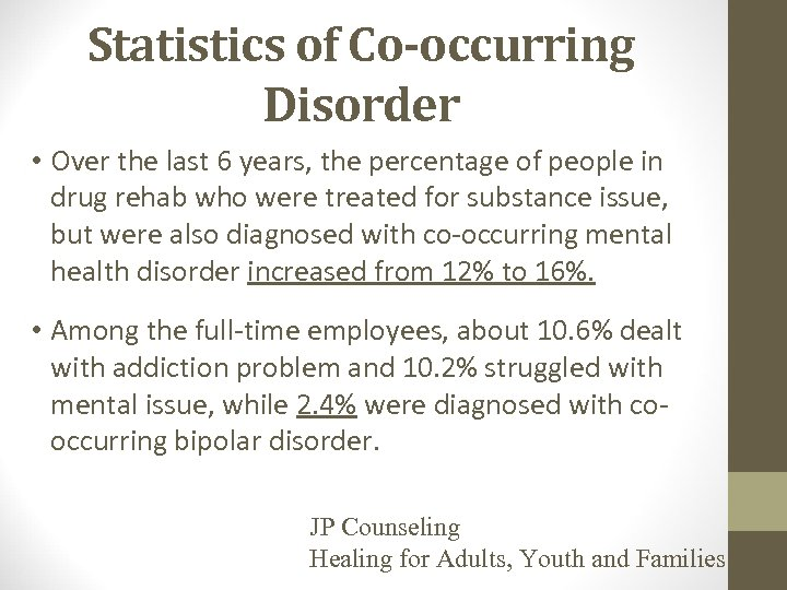 Statistics of Co-occurring Disorder • Over the last 6 years, the percentage of people