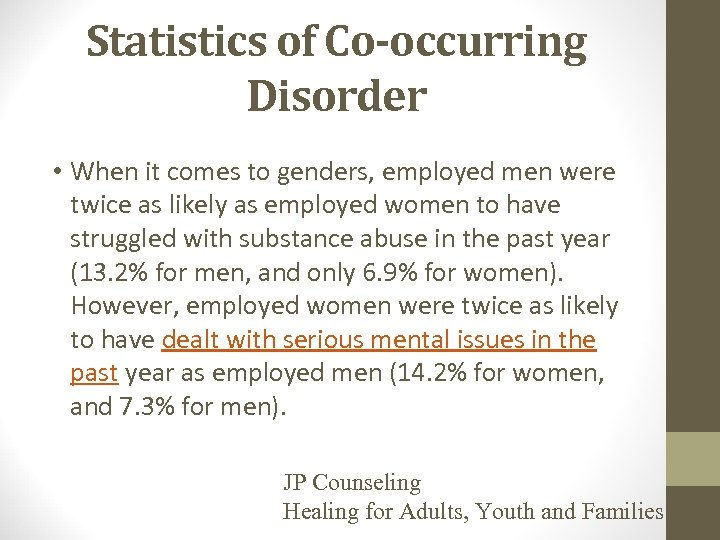 Statistics of Co-occurring Disorder • When it comes to genders, employed men were twice