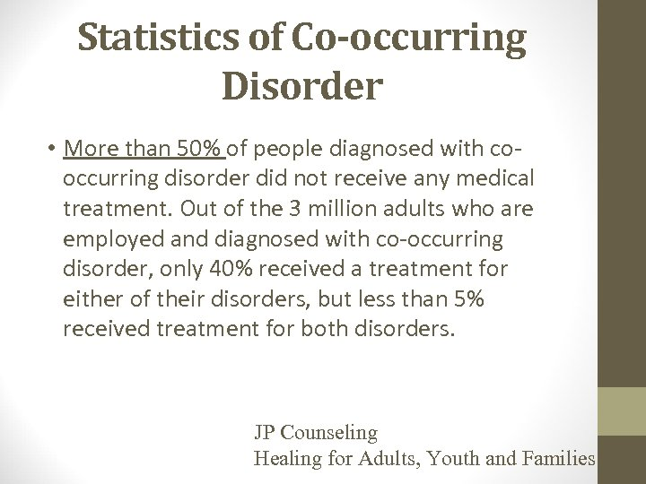 Statistics of Co-occurring Disorder • More than 50% of people diagnosed with cooccurring disorder