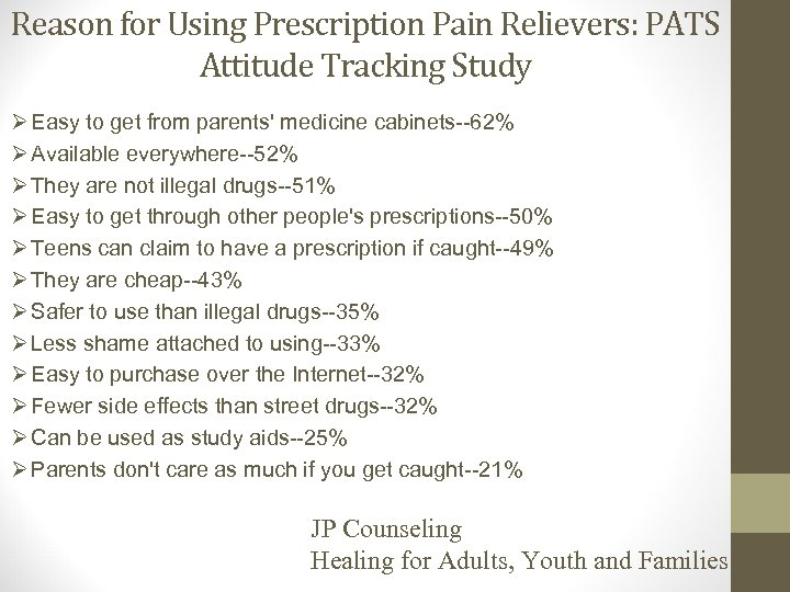 Reason for Using Prescription Pain Relievers: PATS Attitude Tracking Study Ø Easy to get