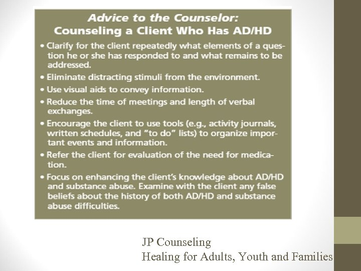 JP Counseling Healing for Adults, Youth and Families
