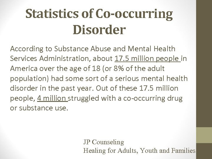Statistics of Co-occurring Disorder According to Substance Abuse and Mental Health Services Administration, about