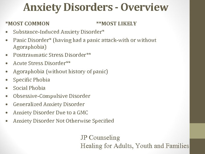 Anxiety Disorders - Overview *MOST COMMON **MOST LIKELY • Substance-Induced Anxiety Disorder* • Panic