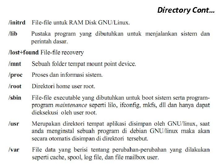 Directory Cont…