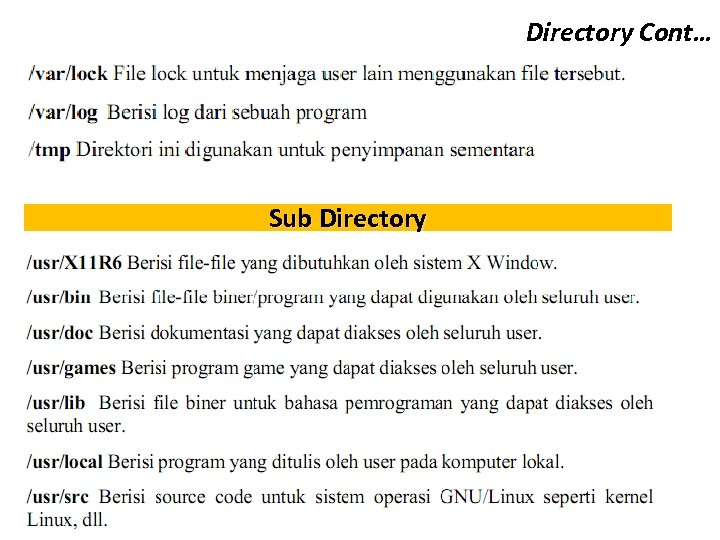 Directory Cont… Sub Directory
