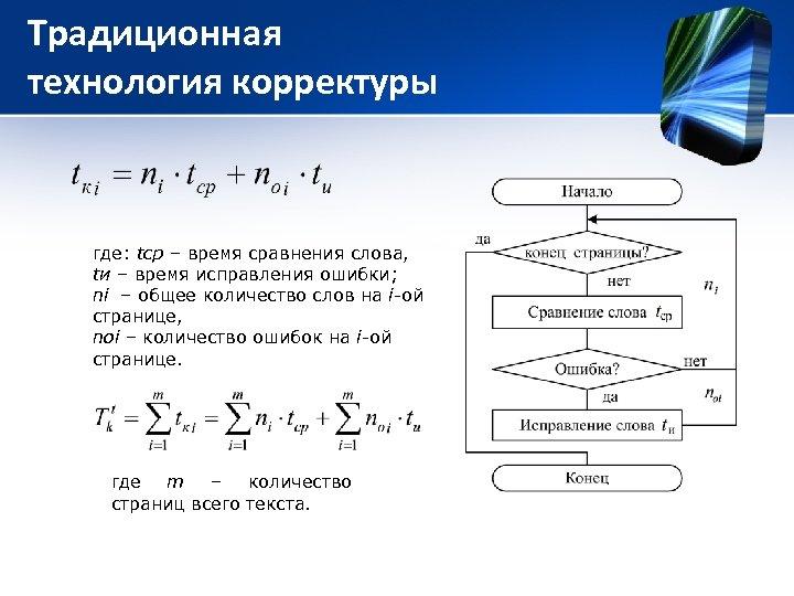 Традиционная технология корректуры где: tср – время сравнения слова, tи – время исправления ошибки;