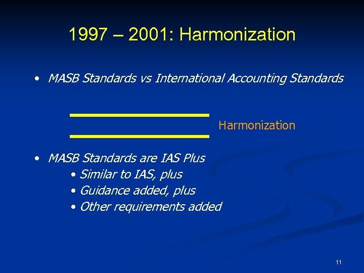 1997 – 2001: Harmonization • MASB Standards vs International Accounting Standards Harmonization • MASB