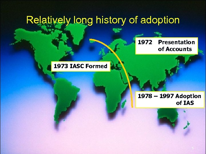 Relatively long history of adoption 1972 Presentation of Accounts 1973 IASC Formed 1978 –