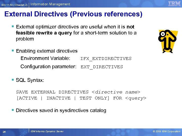 IDS 11. 50 ( Cheetah 2) Information Management External Directives (Previous references) § External