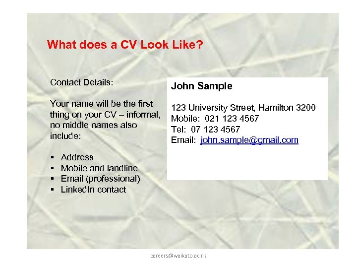 What does a CV Look Like? Contact Details: John Sample Your name will be