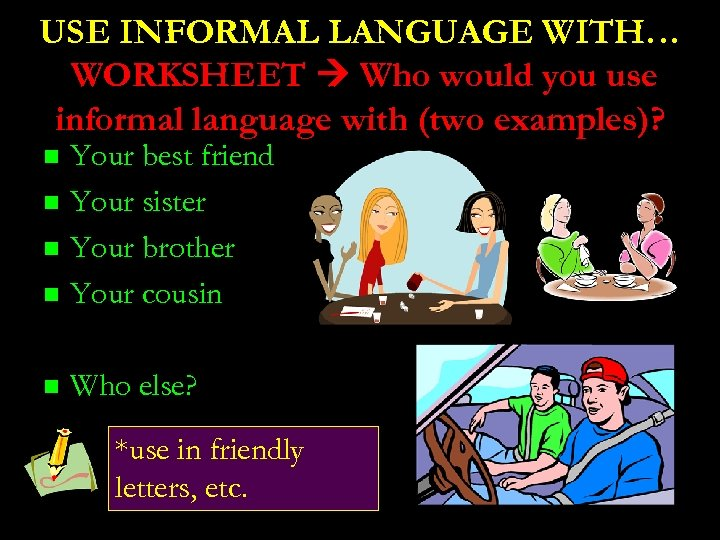 USE INFORMAL LANGUAGE WITH… WORKSHEET Who would you use informal language with (two examples)?