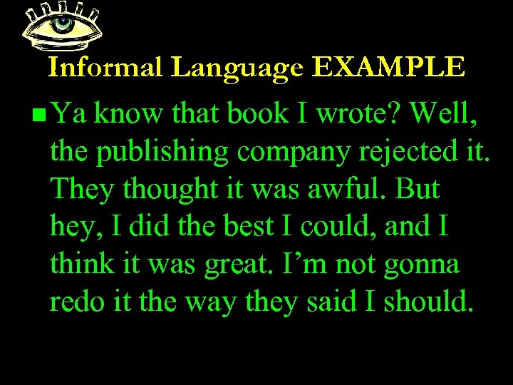 Informal Language EXAMPLE n Ya know that book I wrote? Well, the publishing company