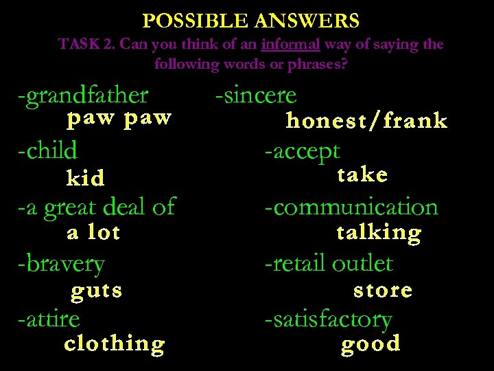 POSSIBLE ANSWERS TASK 2. Can you think of an informal way of saying the