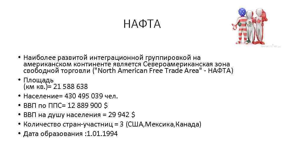 НАФТА • Наиболее развитой интеграционной группировкой на американском континенте является Североамериканская зона свободной торговли