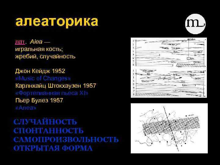 алеаторика лат. Alea — игральная кость; жребий, случайность Джон Кейдж 1952 «Music of Changes»