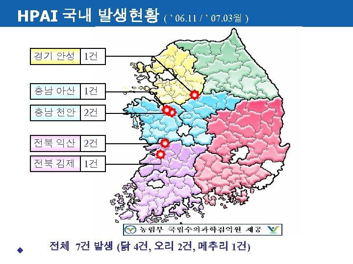 HPAI 국내 발생현황 ( ' 06. 11 / ' 07. 03월 ) 경기 안성