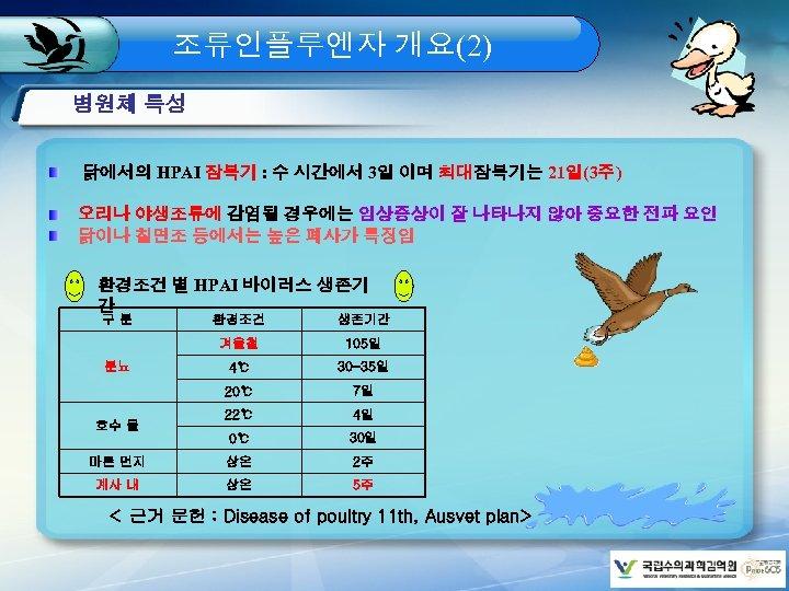 조류인플루엔자 개요(2) 병원체 특성 닭에서의 HPAI 잠복기 : 수 시간에서 3일 이며 최대잠복기는 21일(3주)