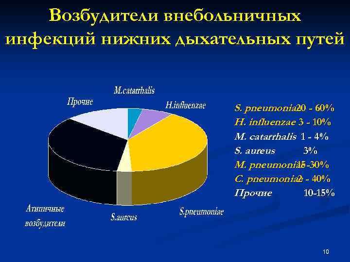 Возбудители внебольничных инфекций нижних дыхательных путей S. pneumoniae - 60% 20 H. influеnzae 3