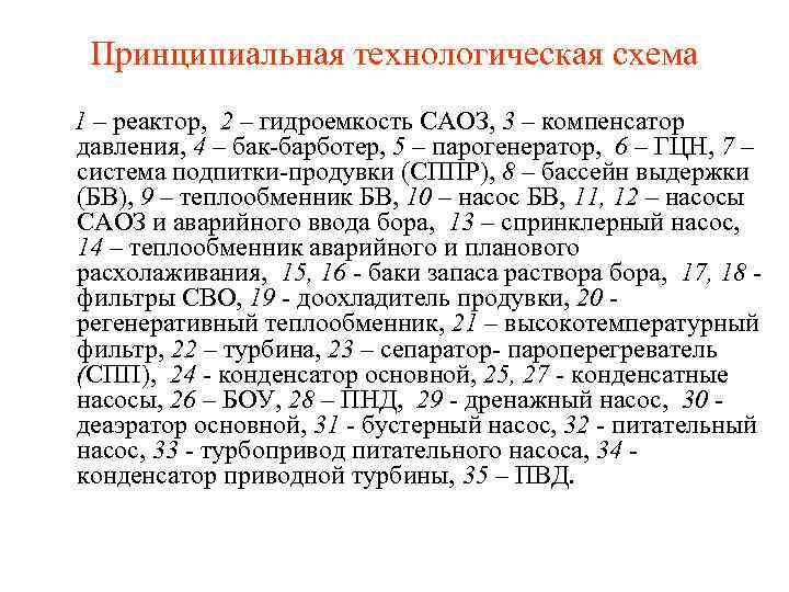Принципиальная технологическая схема 1 – реактор, 2 – гидроемкость САОЗ, 3 – компенсатор давления,