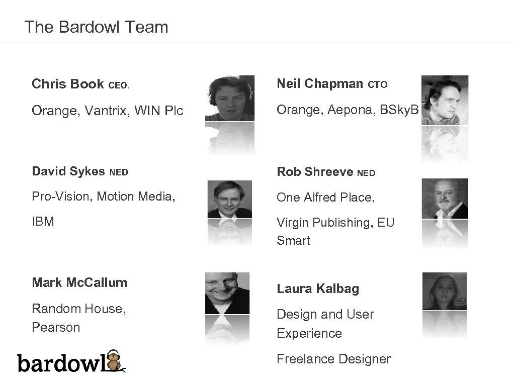 The Bardowl Team Chris Book CEO, Neil Chapman CTO Orange, Vantrix, WIN Plc Orange,
