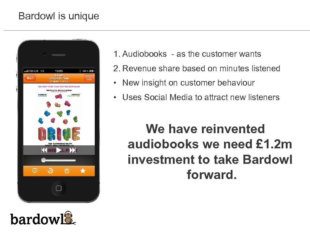 Bardowl is unique 1. Audiobooks - as the customer wants 2. Revenue share based