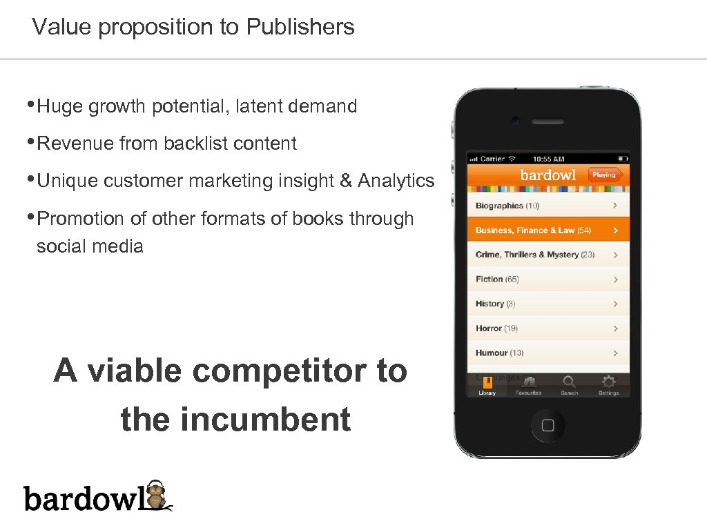 Value proposition to Publishers • Huge growth potential, latent demand • Revenue from backlist