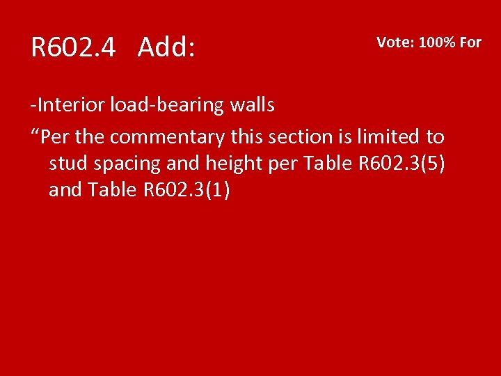 """R 602. 4 Add: Vote: 100% For -Interior load-bearing walls """"Per the commentary this"""