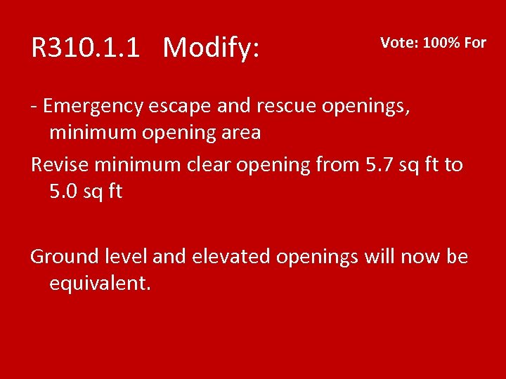 R 310. 1. 1 Modify: Vote: 100% For - Emergency escape and rescue openings,