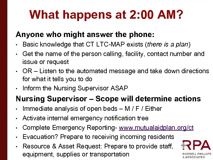 What happens at 2: 00 AM? Anyone who might answer the phone: Basic knowledge