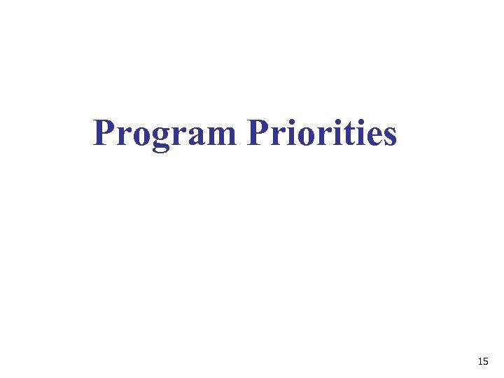Program Priorities 15