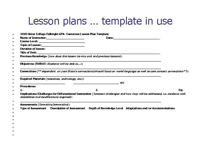 Lesson plans … template in use n n n n n n n 2010