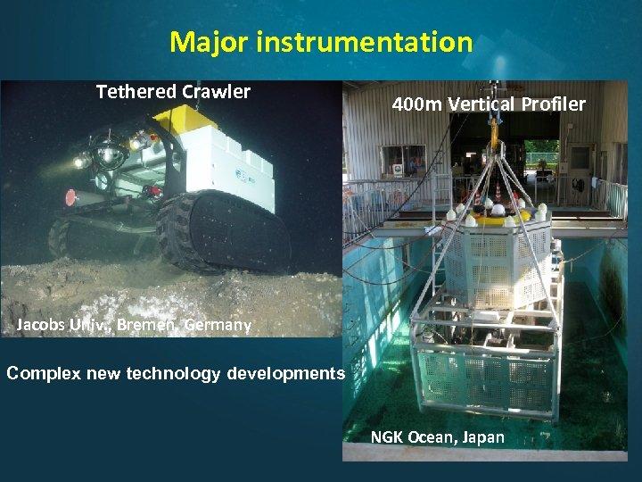 Major instrumentation Tethered Crawler 400 m Vertical Profiler Jacobs Univ. , Bremen, Germany Complex