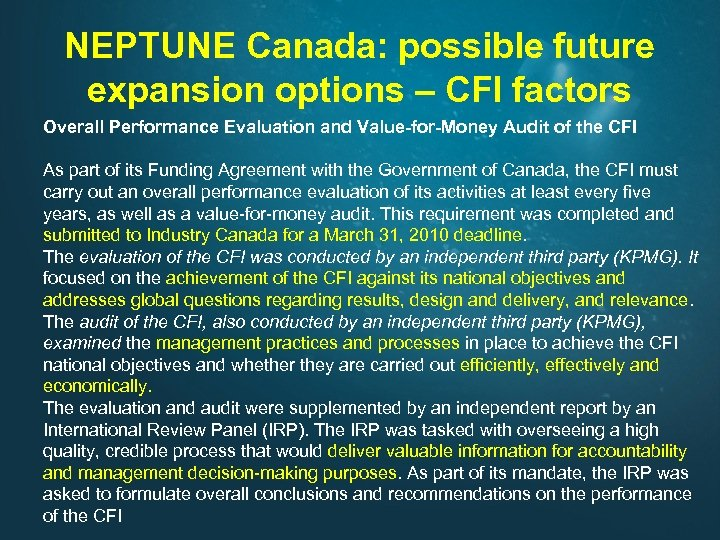 NEPTUNE Canada: possible future expansion options – CFI factors Overall Performance Evaluation and Value-for-Money