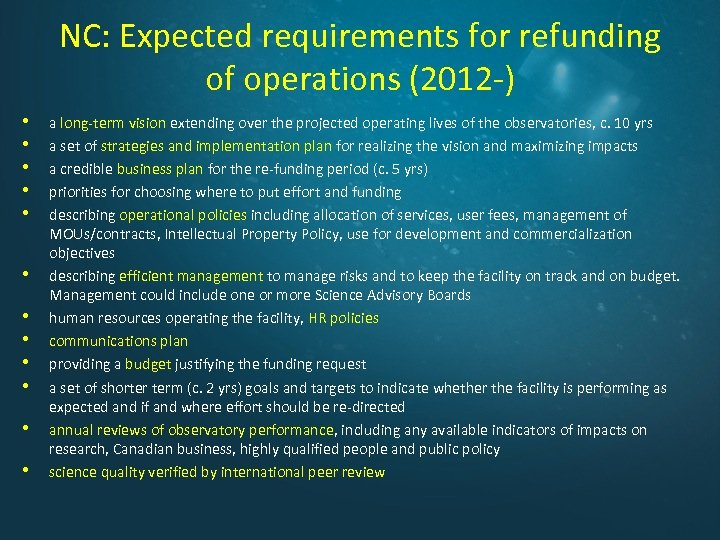 NC: Expected requirements for refunding of operations (2012 -) • • • a long-term