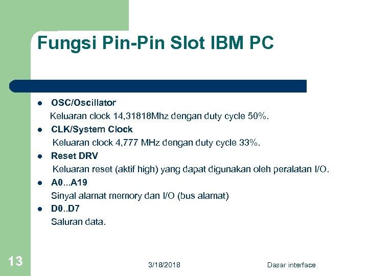 Fungsi Pin-Pin Slot IBM PC OSC/Oscillator Keluaran clock 14, 31818 Mhz dengan duty cycle