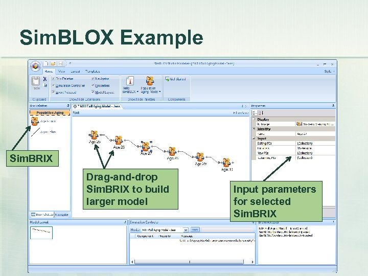 Sim. BLOX Example Sim. BRIX Drag-and-drop Sim. BRIX to build larger model Input parameters