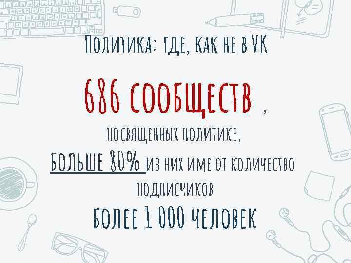 Политика: где, как не в VK 686 сообществ , посвященных политике, больше 80% из