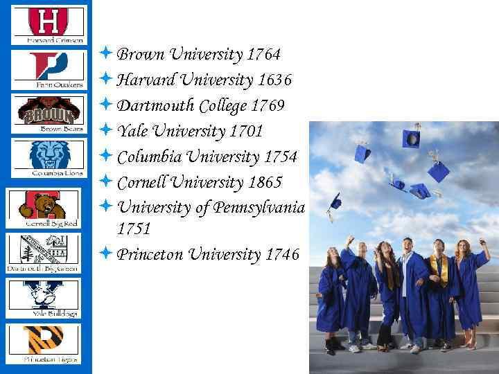 ª Brown University 1764 ª Harvard University 1636 ª Dartmouth College 1769 ª Yale