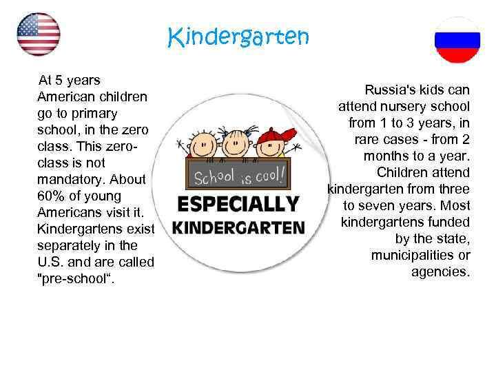 Kindergarten At 5 years American children go to primary school, in the zero class.