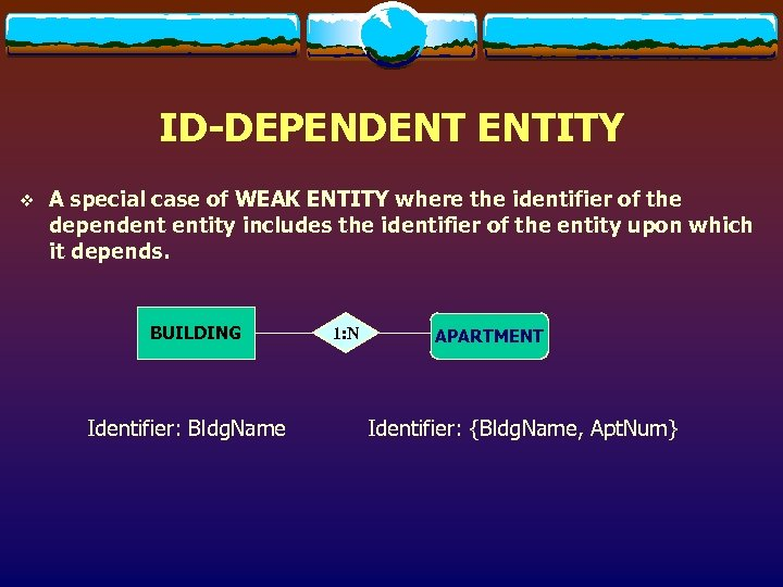 ID-DEPENDENT ENTITY v A special case of WEAK ENTITY where the identifier of the