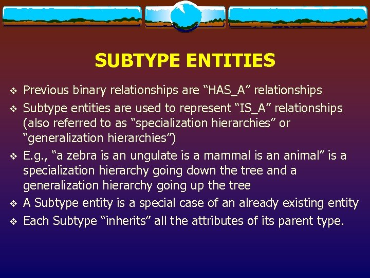 "SUBTYPE ENTITIES v v v Previous binary relationships are ""HAS_A"" relationships Subtype entities are"