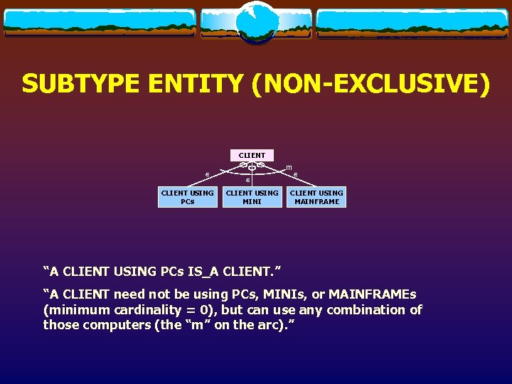 SUBTYPE ENTITY (NON-EXCLUSIVE) CLIENT Î CLIENT USING PCs m Î CLIENT USING MINI Î