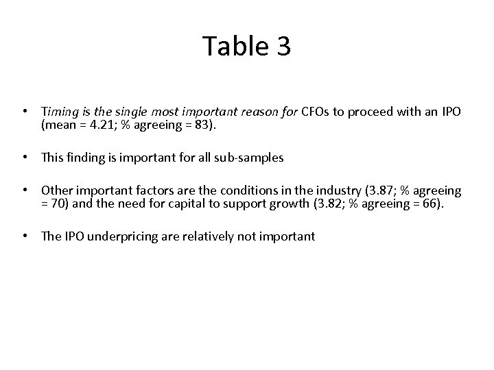 Table 3 • Timing is the single most important reason for CFOs to proceed