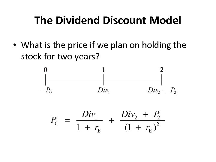 The Dividend Discount Model • What is the price if we plan on holding