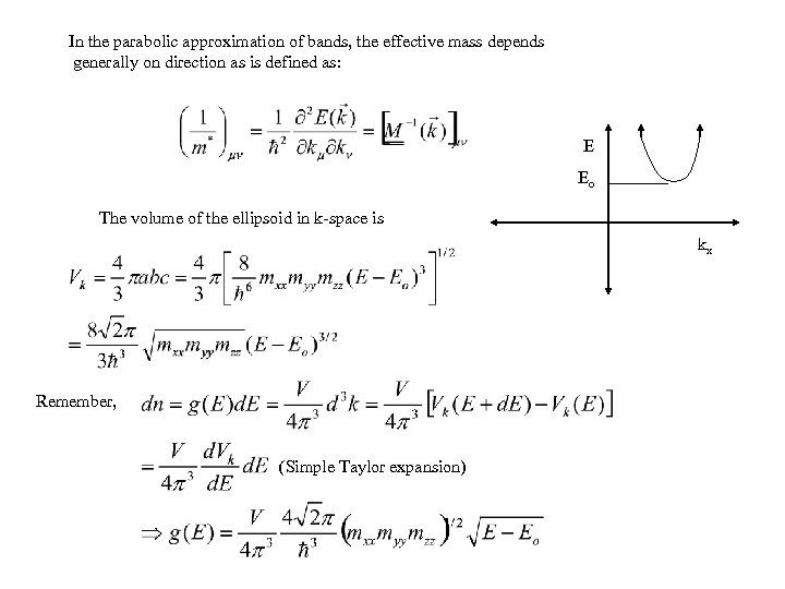 In the parabolic approximation of bands, the effective mass depends generally on direction as