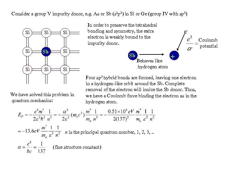 Consider a group V impurity donor, e. g. As or Sb (s 2 p