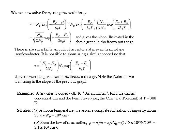 We can now solve for n, using the result for and gives the slope