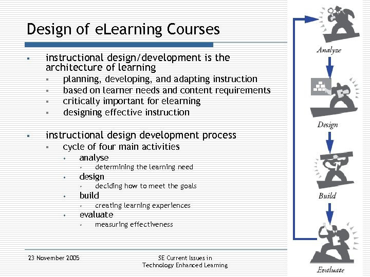 Design of e. Learning Courses § instructional design/development is the architecture of learning §