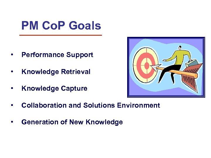 PM Co. P Goals • Performance Support • Knowledge Retrieval • Knowledge Capture •