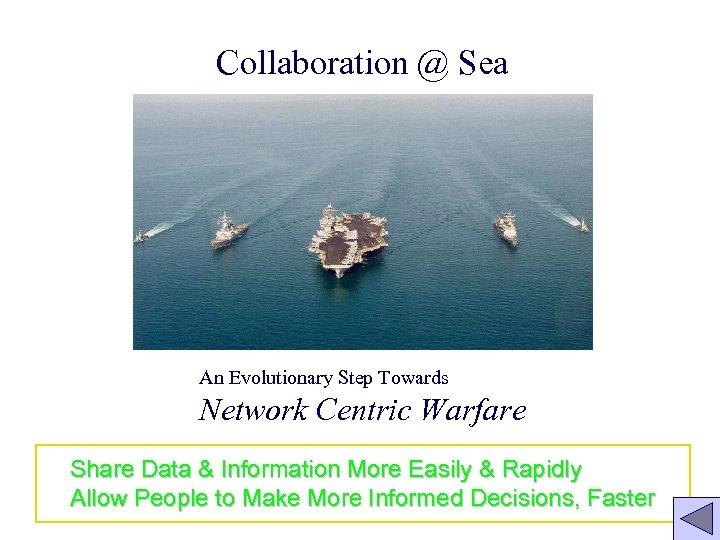 Collaboration @ Sea An Evolutionary Step Towards Network Centric Warfare Share Data & Information